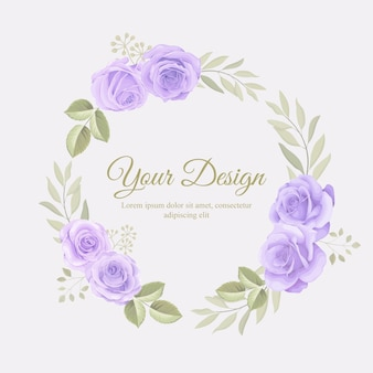 bella cornice floreale con ornamento floreale rose disegnate a mano