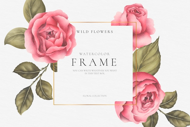 Beautiful floral frame with peonies and leaves
