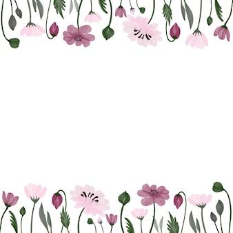 Красивая цветочная рамка с розовыми цветами