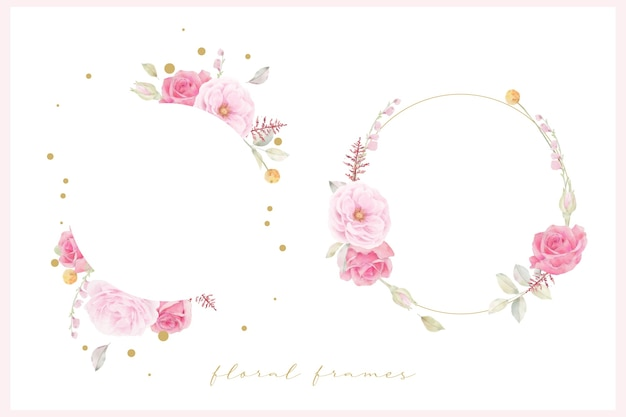 Beautiful floral frame with pink rose watercolor