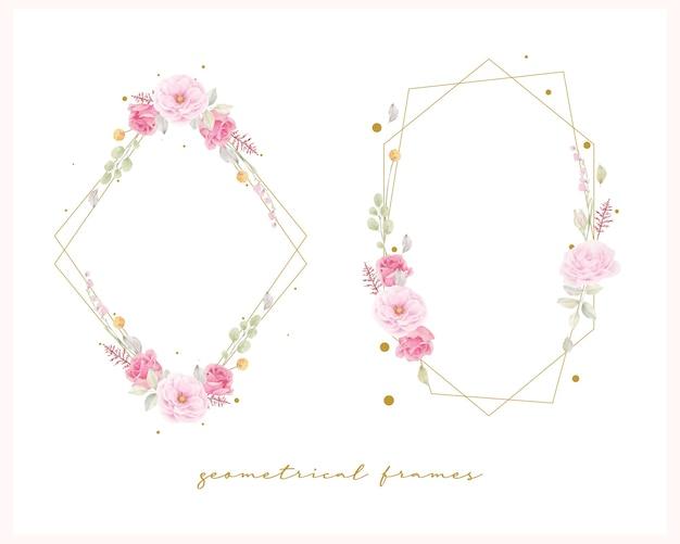 Красивая цветочная рамка с розовой розой акварель