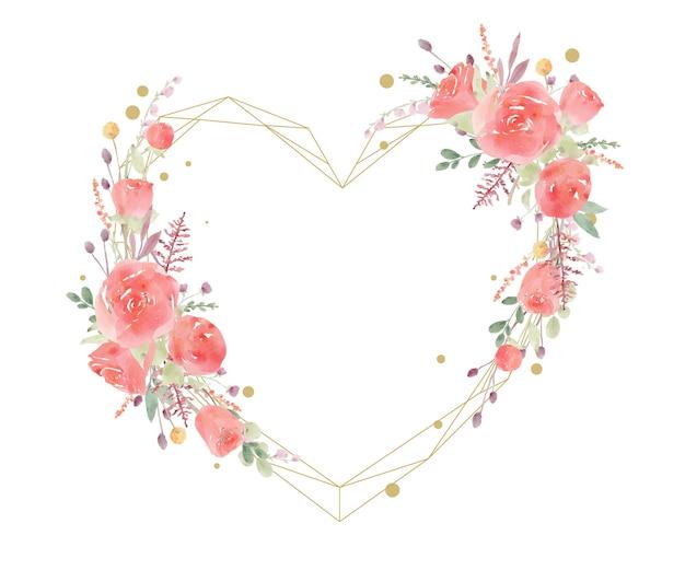 赤いバラの水彩画と美しい花のフレーム