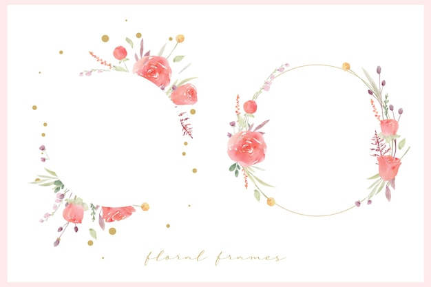 Красивая цветочная рамка с красной розой акварель
