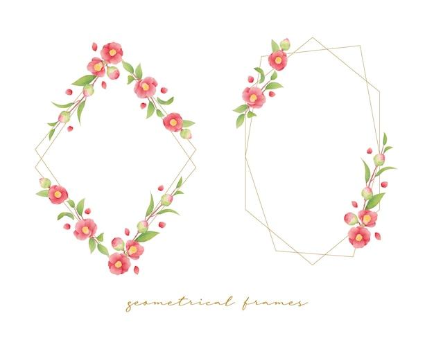 水彩のcameの花と美しい花のフレーム