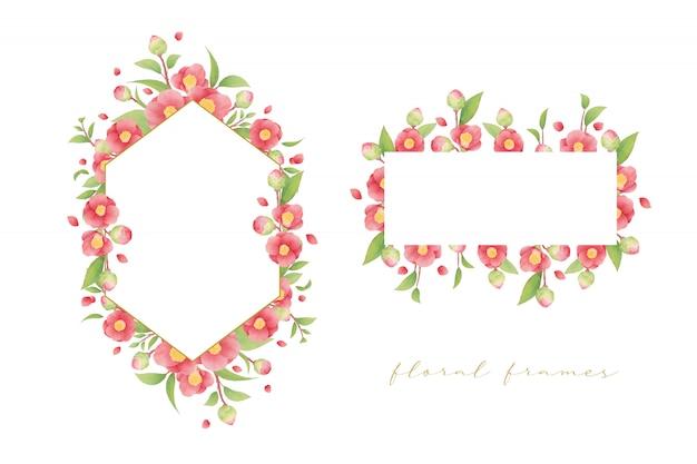 수채화 동백 꽃과 함께 아름 다운 꽃 프레임