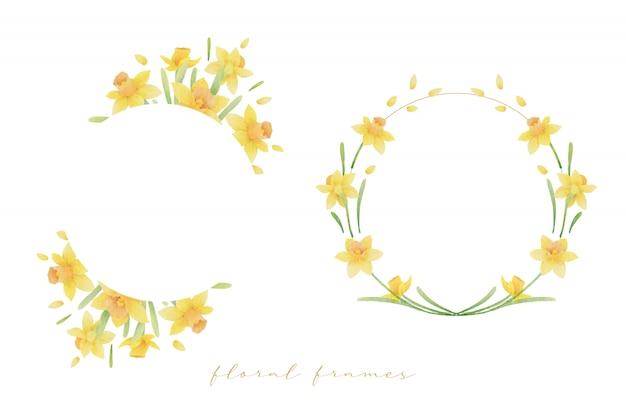 水彩の水仙の花と美しい花のフレーム