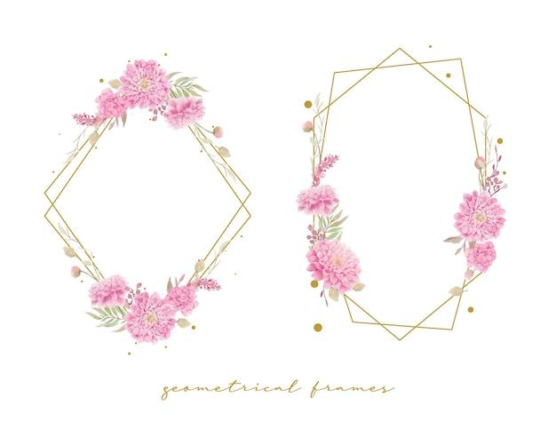 水彩ダリアの花と美しい花のフレーム
