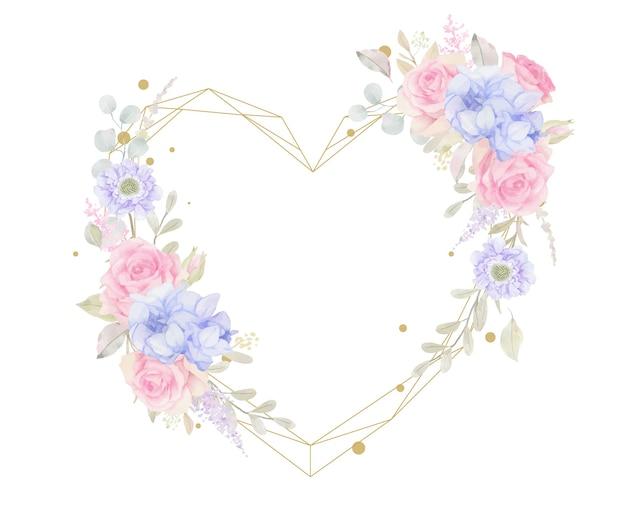 水彩花と美しい花のフレーム