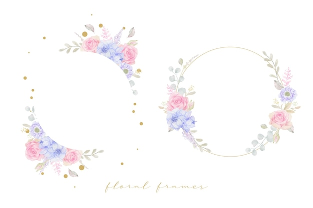 Beautiful floral frame with watercolor flowers
