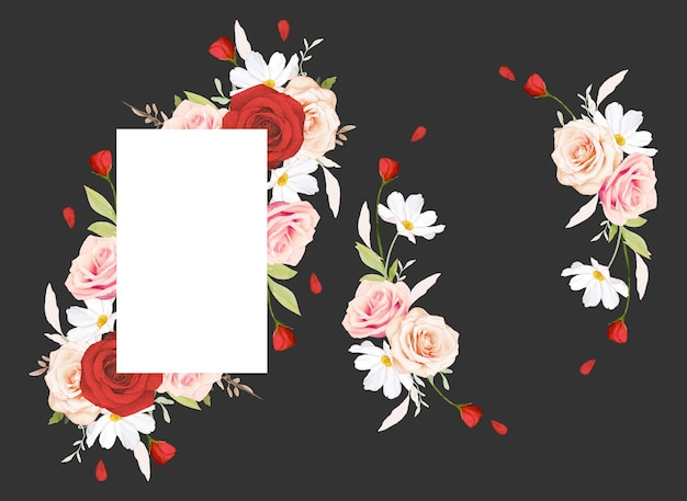 Beautiful floral frame with watercolor pink and red roses