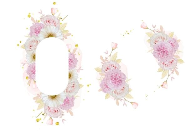 水彩ピンクのバラと白いガーベラの花と美しい花のフレーム