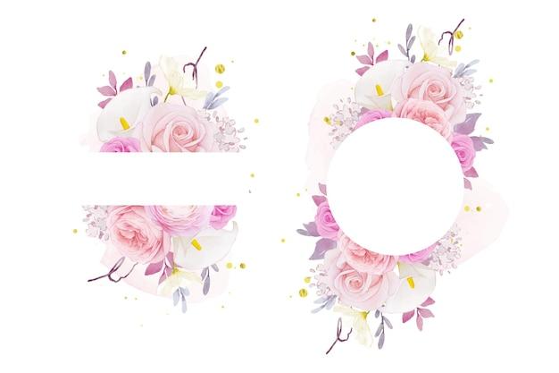 水彩ピンクのバラのユリとラナンキュラスの花と美しい花のフレーム