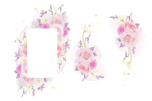 수채화 핑크 장미 백합 및 꽃 꽃과 함께 아름 다운 꽃 프레임