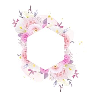 Bella cornice floreale con giglio rosa acquerello e fiore di ranuncolo