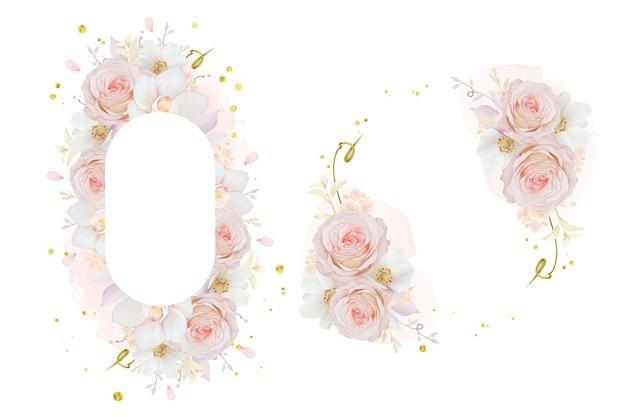 水彩ピンクのバラの蘭とアネモネの花と美しい花のフレーム