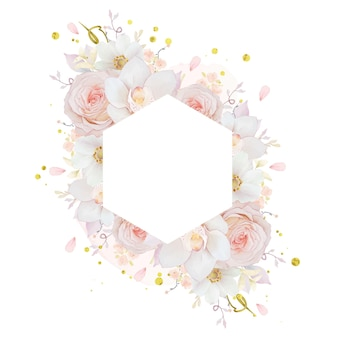 Beautiful floral frame with watercolor pink rose  orchid  and anemone flower