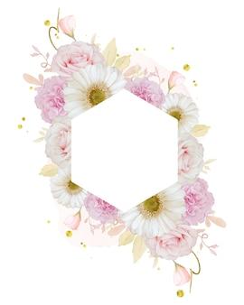 Bella cornice floreale con rosa rosa acquerello e fiore di gerbera bianca