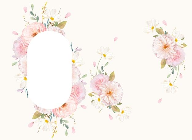 수채화 핑크 장미와 달리아와 아름 다운 꽃 프레임