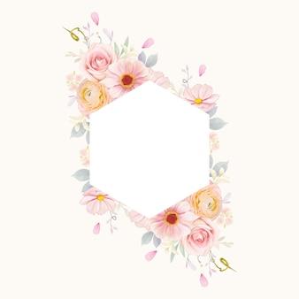 Красивая цветочная рамка с акварельными розовыми розами и цветком лютик