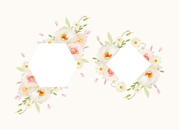 水彩ピンクのバラと白い牡丹と美しい花のフレーム