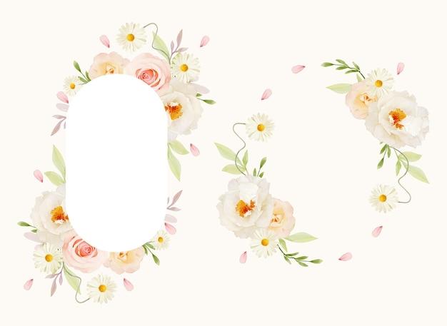 Красивая цветочная рамка с акварельными розовыми розами и белым пионом