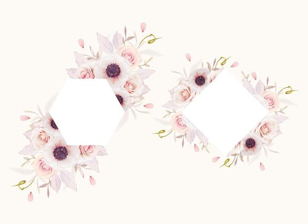 Bella cornice floreale con rose rosa dell'acquerello e fiore di anemoni
