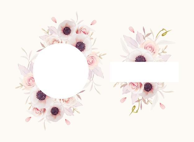 Beautiful floral frame with watercolor pink roses and anemones flower