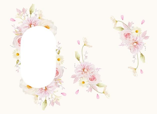 水彩ピンクのバラダリアと白い牡丹と美しい花のフレーム