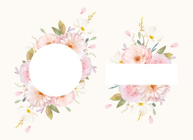 Bella cornice floreale con rose rosa dell'acquerello e dalia