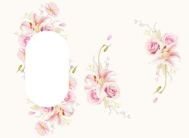 수채화 핑크 장미 릴리와 칼라 릴리와 함께 아름 다운 꽃 프레임