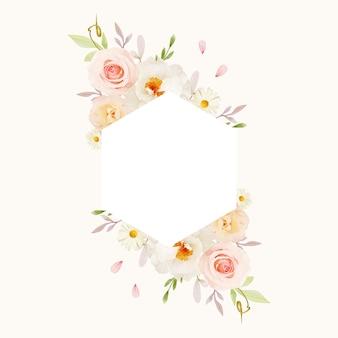 Bella cornice floreale con rose rosa acquerello e peonia bianca