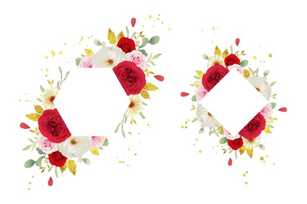 Красивая цветочная рамка с акварельными розовыми белыми и красными розами