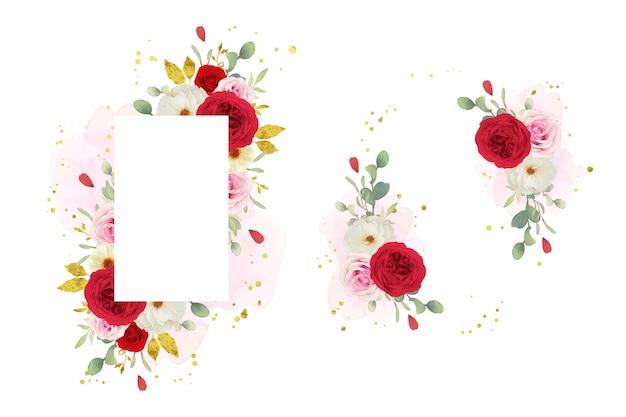 水彩ピンクの白と赤のバラと美しい花のフレーム