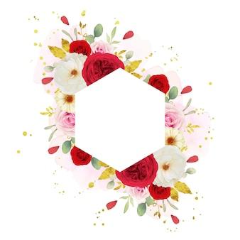 수채화 핑크 흰색과 붉은 장미와 아름 다운 꽃 프레임