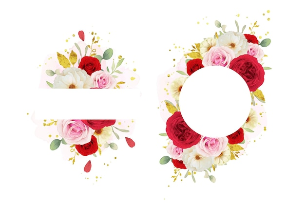 Bella cornice floreale con rose bianche e rosse rosa dell'acquerello