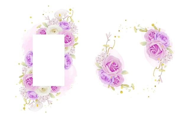 수채화 보라색 장미 백합 및 꽃 꽃과 함께 아름 다운 꽃 프레임