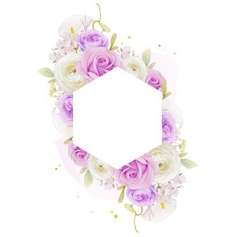 水彩の紫色のバラのユリとラナンキュラスの花と美しい花のフレーム