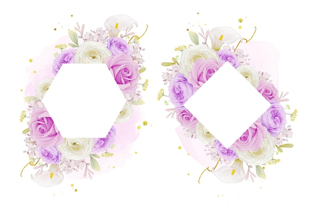 Beautiful floral frame with watercolor purple rose  lily  and ranunculus flower