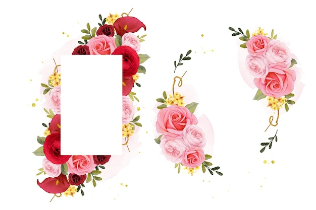 Красивая цветочная рамка с акварельной красной розовой лилией и цветком лютика
