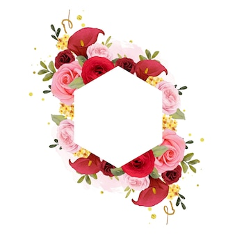 Beautiful floral frame with watercolor red rose  lily  and ranunculus flower