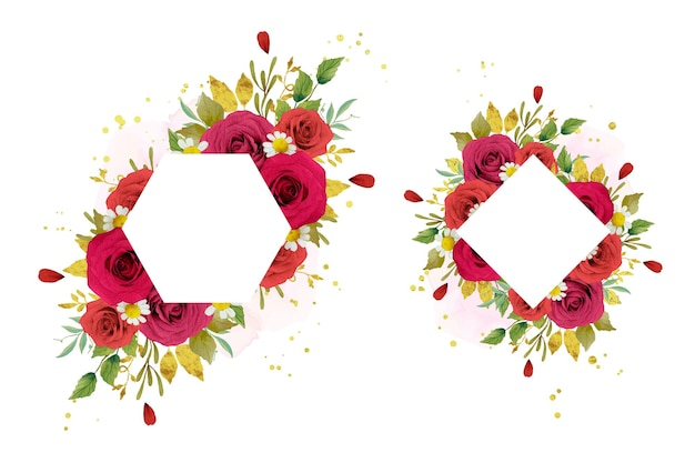 Bella cornice floreale con rose rosse acquerellate