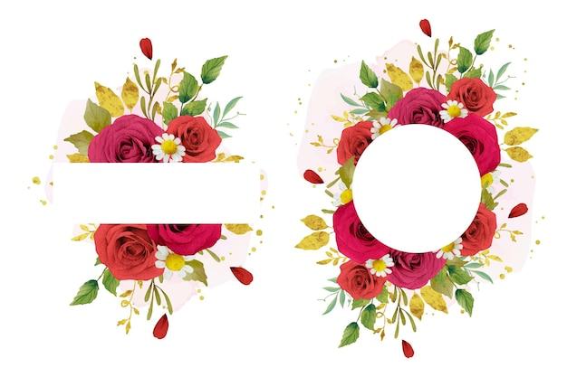 水彩の赤いバラと美しい花のフレーム