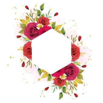 수채화 빨간 장미와 아름 다운 꽃 프레임