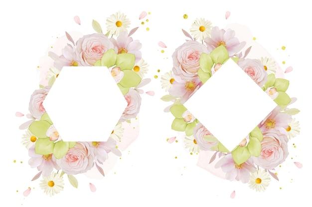 水彩のバラと緑の蘭と美しい花のフレーム