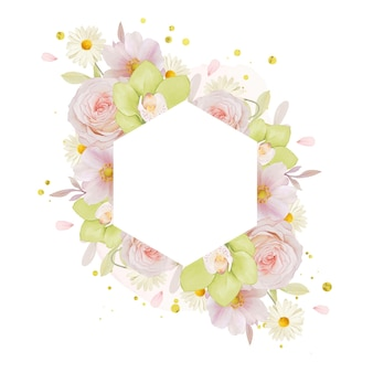수채화 장미와 녹색 난초와 아름 다운 꽃 프레임