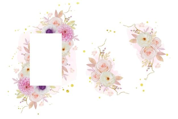 Красивая цветочная рамка с акварельной розой георгина и цветком анемона