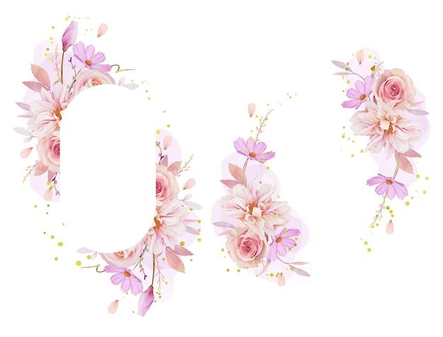 水彩のバラのダリアとラナンキュラスの花と美しい花のフレーム