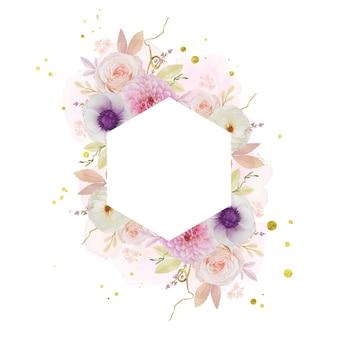Bella cornice floreale con dalia rosa acquerello e fiore di anemone