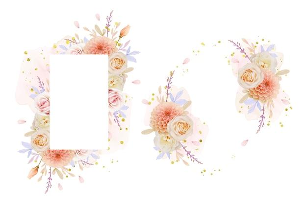 Bella cornice floreale con fiori di rosa e dalia dell'acquerello