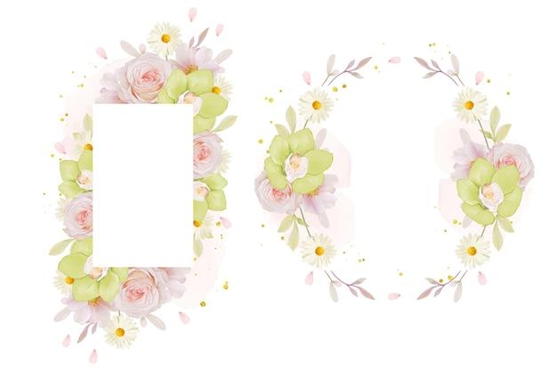 Bella cornice floreale con rosa acquerello e orchidea verde